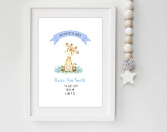 A4 Personalised Welcome to the World Giraffe Birth Detail Announcement Nursery Print or Card