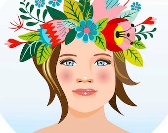 Custom Portrait / Digital Girl portrait / custom digital painting  / Digital portrait / gift for girlfriend / portrait with wreath