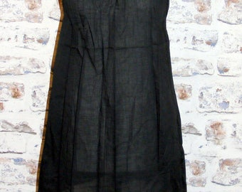 Size 8-10 vintage 70s style festival mini dress/tunic gold stud neck black BNWOT