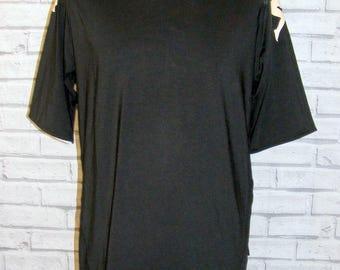 Size M vintage 90s Kappa t shirt top s/slv standup collar black polyester (HR02)