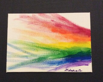 ombre rainbow painting