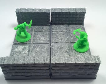 3D Printed Tabletop Gaming Wall Tiles 2x2
