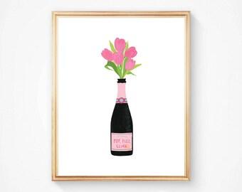 Champagne Wall Art, Bar Cart Art, Champagne Illustration, Fashionable Wall Art, Kitchen Wall Art, Pop Fizz Clink