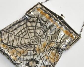 Whiting & Davis Mesh Purse RARE Huge Spiderweb ART DECO 1920s Flapper Silver Gold Black Enameled Metal