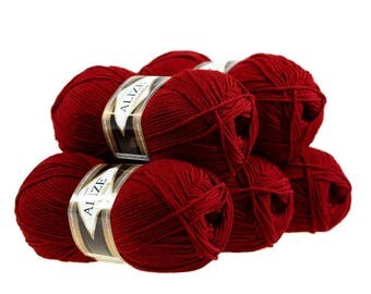 5 x 100 g yarn ALIZE Lanagold 49% wool, free choice of color (color: red)