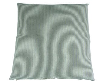 Pillowcase of happy stripes - fair trade, 100% cotton, 60 x 60 cm, grey/blue, beige