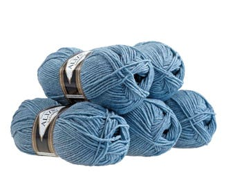 5 x 100 g yarn ALIZE Lanagold 49% wool, free choice of color (color: light blue gray)