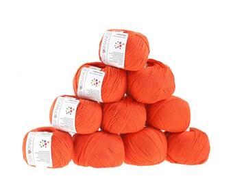 10 x 50 g knitting wool cotton Bay #197 orange