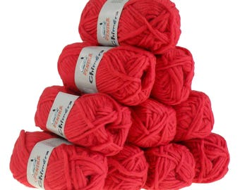 10 x 50 g CHIMERA #440 red wool, wool for knitting felting