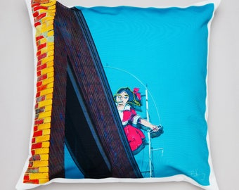 Australia - handmade Cushion - Skipping Girl - Melbourne - from my travels - an icon