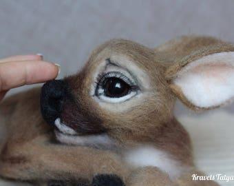 Needle felted deer Bambi, needle felted animals, felt little deer, fabulous deer, handmade toy, cute gift, felt toy, home decor, felting toy