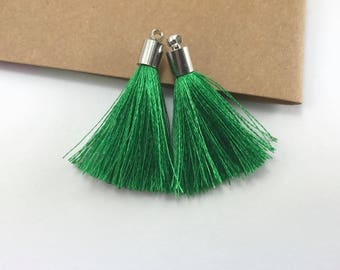 2pcs, 40mm Beautiful Green Silk Tassel In Silver Cap