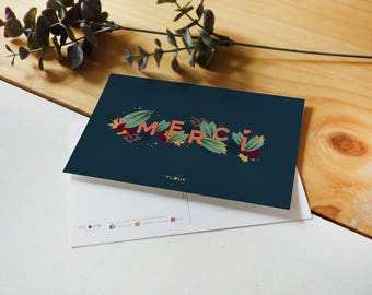 A6 thank you postcard / botanical & graphic card thanks
