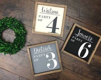 Family Name Party of Sign | Wood Sign | Family Name Sign | Farmhouse Style | Farmhouse Decor | Farmhouse Sign | Family Number Sign | Fixer U