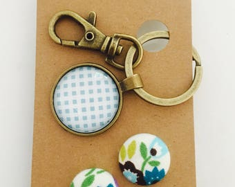 Blue Gingham Glass Keyring Chain and Earring Gift Set
