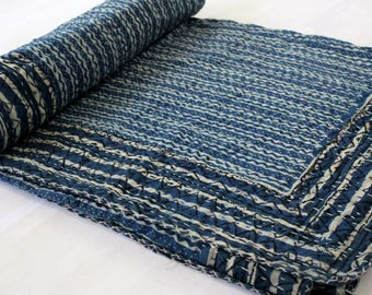 Vintage Kantha indgo Hand Stitched Quilt, 100% Indian Cotton, Bohemian Boho Block Printed Blue White Coverlet QUEEN Size, IKQ#61