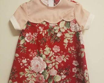 Children's 2T dress // 2T kids dress - red floral with soft pink accent; vintage inspired