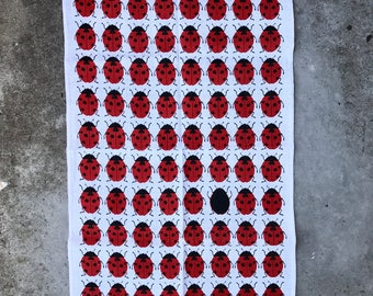 Retro Irish Linen Ladybirds by Ulster Ladybeetle Teatowel