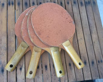 Vintage Retro Sandpaper Table Tennis Ping Pong Paddles