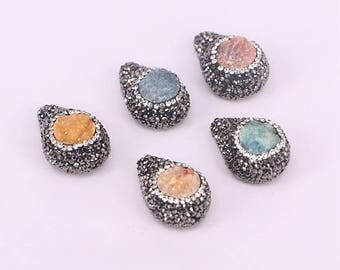 6/12PCS Natural druzy quartz beads drop shape side hole beads, pave black rhinestone crystal Gems fashion jewelry beads