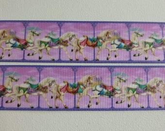 "Unicorn Carousel printed Grosgrain Ribbon 25mm / 1"" wide x 1 meters"