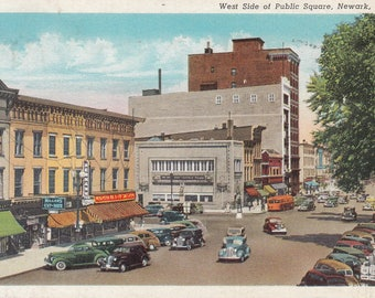 Newark, Ohio Vintage Postcard - West Side of Public Square, Woolworth, Hermanns Clothing