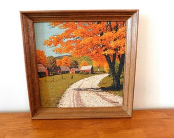 Kay Dee linen hand printed framed art Autumn Country Road  SHIPPING INCLUDED