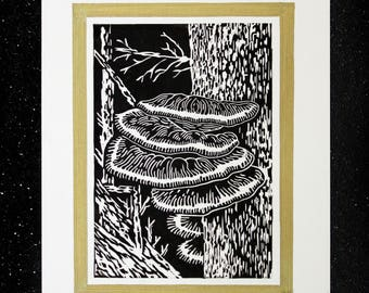 Fungi linocut print