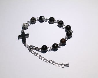 Decadic prayer beads - BRACELET from coloured Regalite on stainless steel wire