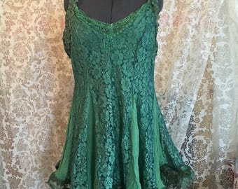 Green recycled lace dress