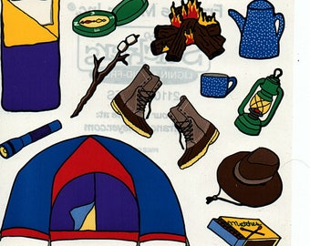Camping Frances Meyer Scrapbook Stickers Embellishments Cardmaking Crafts 4x4 Inch Sheet