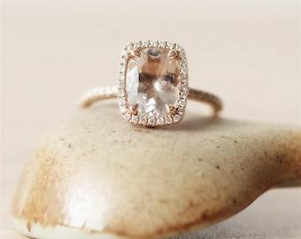 7*9mm Morganite Ring*14k Rose Gold Ring*Diamond Wedding Ring*Oval Cut Morganite Wedding &Engagement Ring*Promise Ring*Anniversary Ring