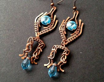 Intricate copper wire-wrapped earrings, BLUE earrings, romantic earrings with BLUE swarovski crystals