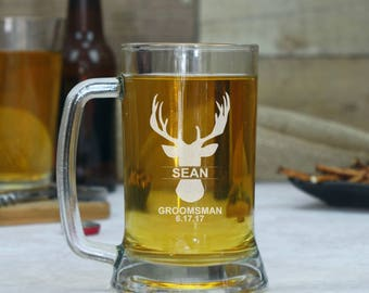 Set of 8 Groomsmen Beer Glasses, Personalized Beer Mugs, Gift for Groomsmen, Beer Glasses, Custom Beer Glass, Best Man Mug