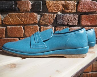 Men's 60s 70s Bright Blue Slip On Loafers Shoes With Rubber Sole Size 11