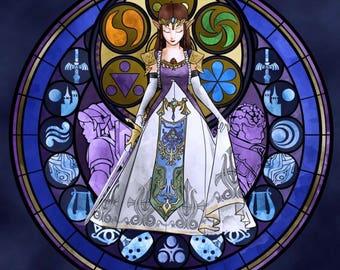 Legend of Zelda cross stitch digital Pattern medallion stained glass kingdom hearts