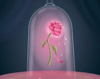 Beauty and the beast rose cross stitch digital pattern medallion enchanted rose Emma Watson frozen