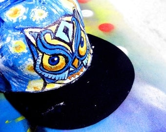 Hand painted owl snap-back cap, with a Vincent Van Gogh style background!