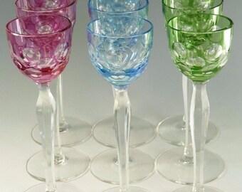 BOHEMIAN Crystal - MRUK59 - Coloured Liqueur Glasses - Set of 9
