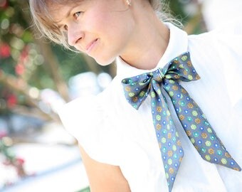 Printed silk scarf Boom Bow Women bow tie