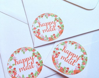 Happy mail stickers, Mail stickers, packaging stickers, Happy mail labels, packaging labels, happy post, delivery stickers, 239