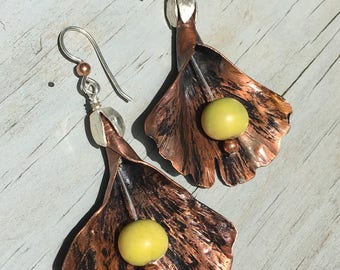 Hammered Copper Ginkgo Leaf Earrings
