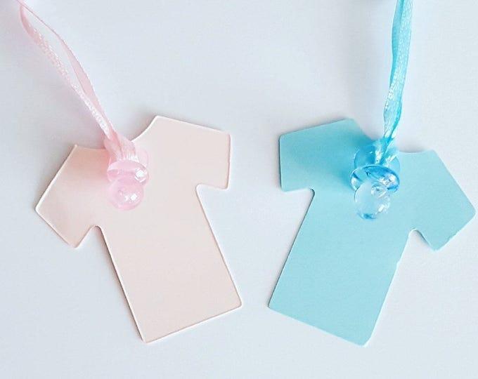 10 baby shower gender reveal vest shaped favour tags