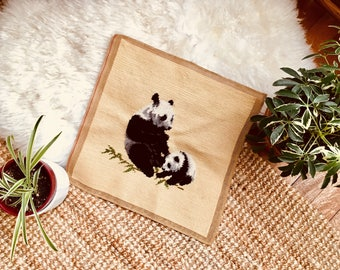 Vintage - Unframed - Panda Needlepoint