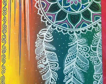"""Mandala dreamcatcher Acrylic painting on stretched cotton canvas size 12"""" X 16"""""""