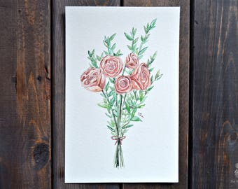 Rose Bouquet | Hand Painted Print