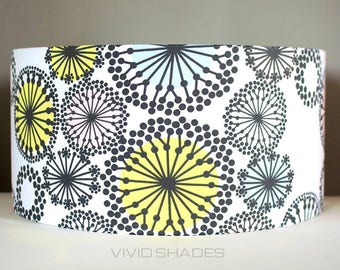 Scandinavian fabric lampshade 40cm or 45cm handmade by Vivid Shades, funky retro geometric flower pattern floral black and white atomic
