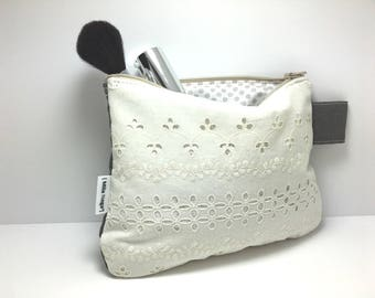 "Padded case silver two-sided ""broderie anglaise"" and anthracite grey cotton/linen"