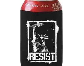 Resist Beer Can Cozy, Statue of Liberty Beer Holder, Political Beer Can Cooler, Anti Trump Beer Hugger, Protest Can Holder Resist Can Holder