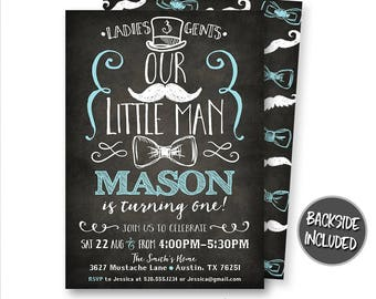 Little Man Invitation, Little Man Birthday Invitation, Little Man Party, Mustache Invitation, Bow Tie Invitation, Personalized, Printable